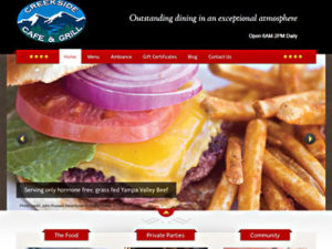 Creekside Cafe home page screenshot