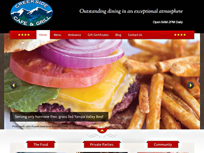 Creekside Cafe home page screenshot