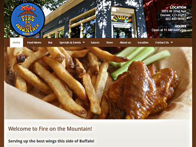 Fire On The Mountain home page screenshot