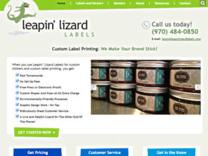 Leapin Lizard Labels home page screenshot
