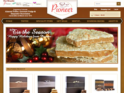 Pioneer Candy home page screenshot