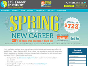 US Career Institute home page screenshot