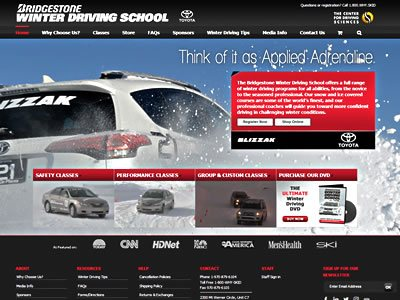 Bridgestone Winter Driving School home page screenshot