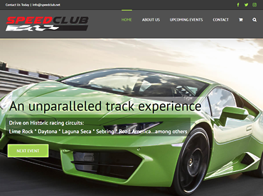 Speed Club home page screenshot