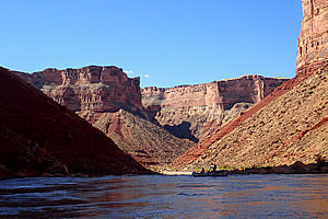 View looking down river in the Grand Canyon